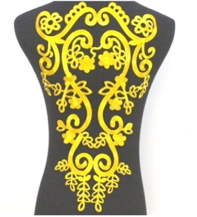 "Bodice Embroidered Applique Gold Metallic Designer Scroll Motif Iron on 18"" GB915"