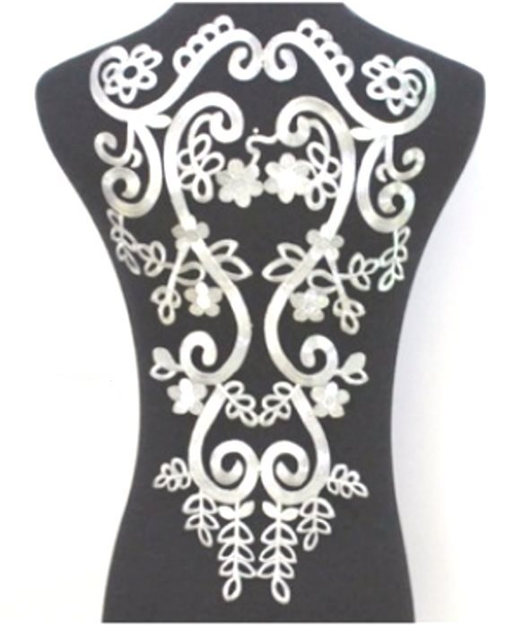 "Bodice Embroidered Applique Silver Metallic Designer Scroll Motif Iron on 18"" GB915"