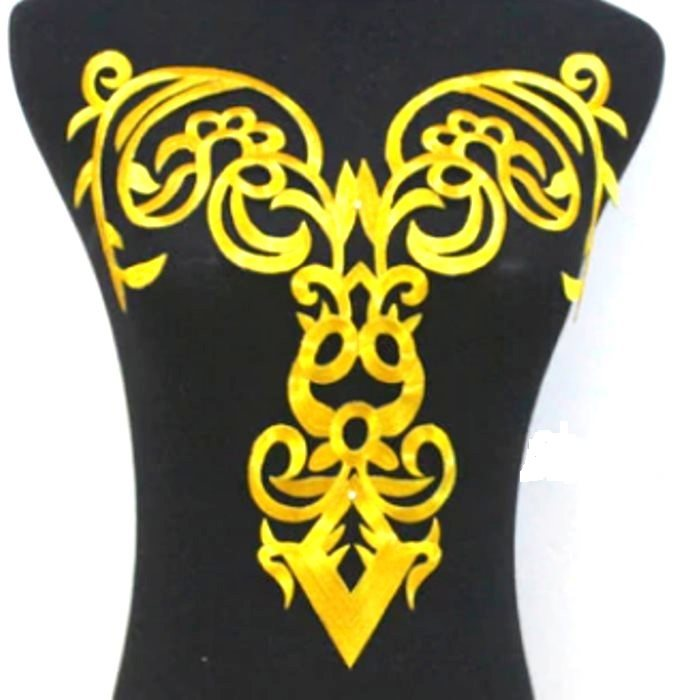 "Bodice Embroidered Applique Gold Metallic Designer Scroll Motif Iron on 15"" GB916"