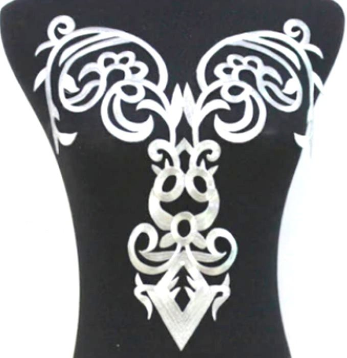"Bodice Embroidered Applique Silver Metallic Designer Scroll Motif Iron on 15"" GB916"