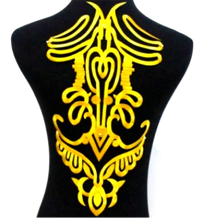 "Bodice Embroidered Applique Gold Metallic Designer Scroll Motif Iron on 16"" GB917"