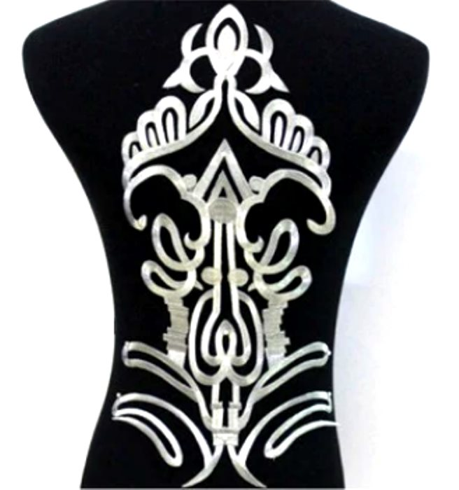 "Bodice Embroidered Applique Silver Metallic Designer Scroll Motif Iron on 16"" GB917"