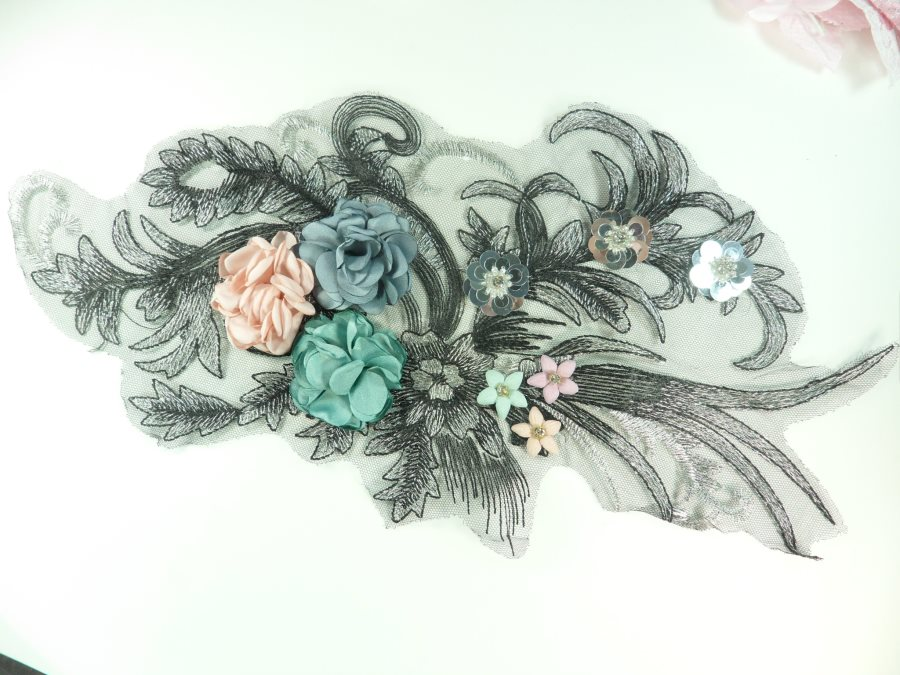 3D Applique Rhinestone Sequin Venice Lace Floral Sewing Clothing Patch 14.5 GB924