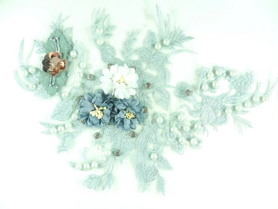 3D Floral Applique Silver Embroidery Venice Lace Clothing Patch w/ Pearls and Rhinestones 13 GB927