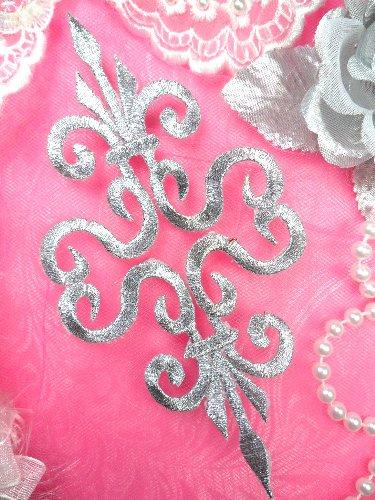 GB93 Silver Metallic Iron On Designer Embroidered Applique 6.25\