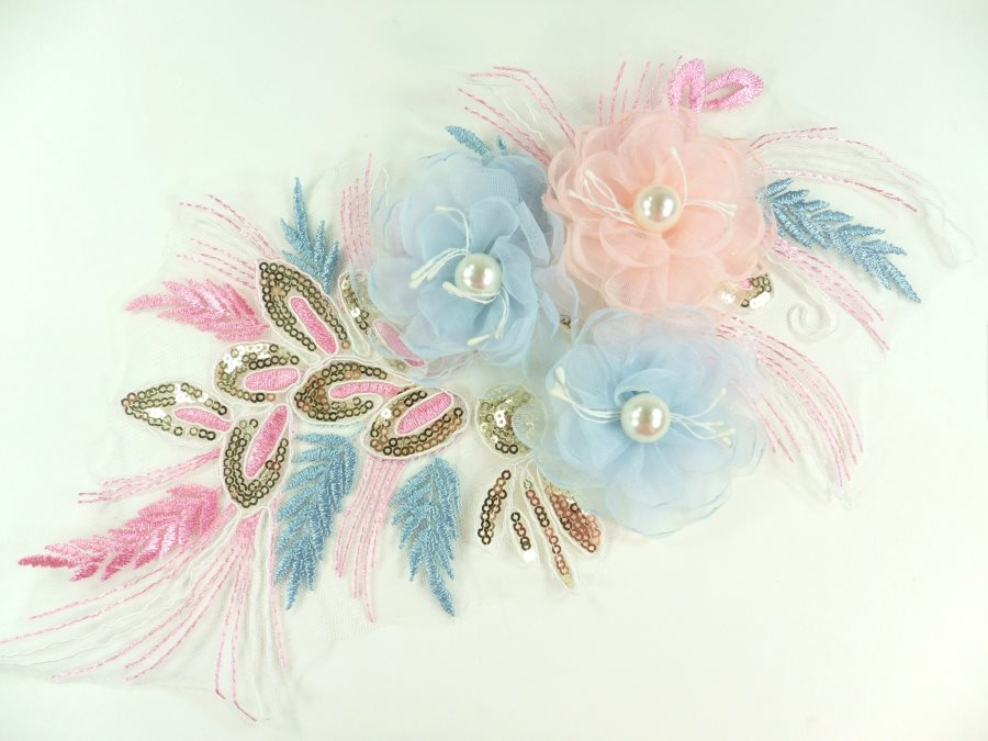 3 Dimensional Applique Sequin Pearl Venice Lace Floral Sewing Clothing Patch 13 GB930