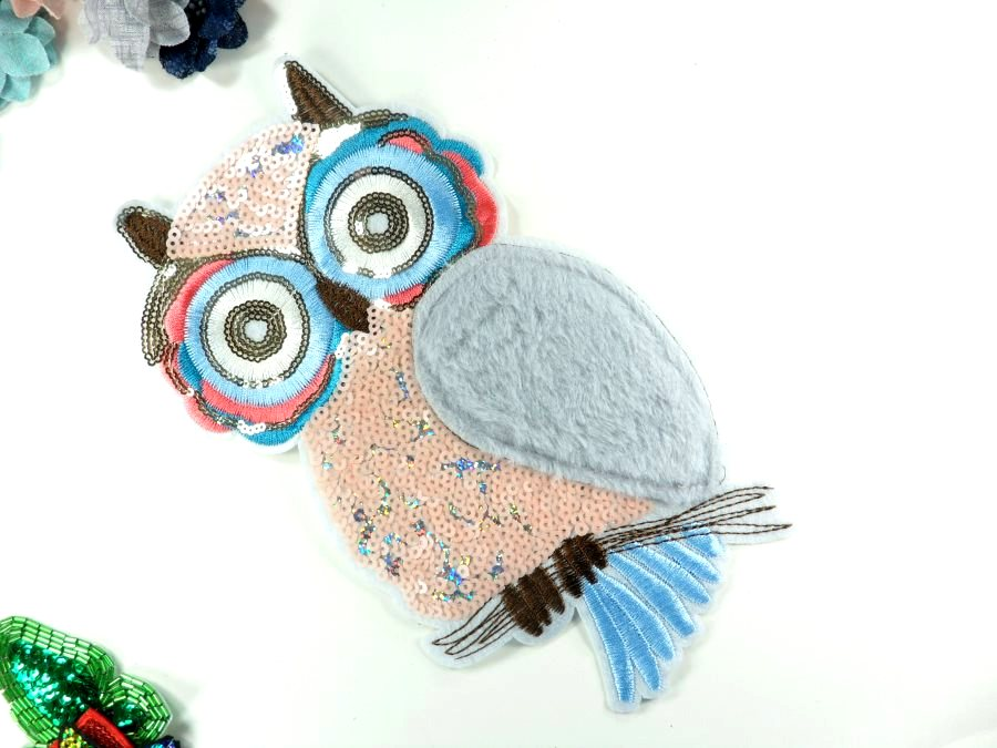 Owl Applique Sequin Multi-Color Iron on Patch for Clothing or Crafts 10.5 GB935