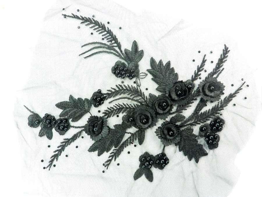 Embroidered Lace Applique Floral design accented w/  Black Sequins and Black Beads 12 GB937-bk