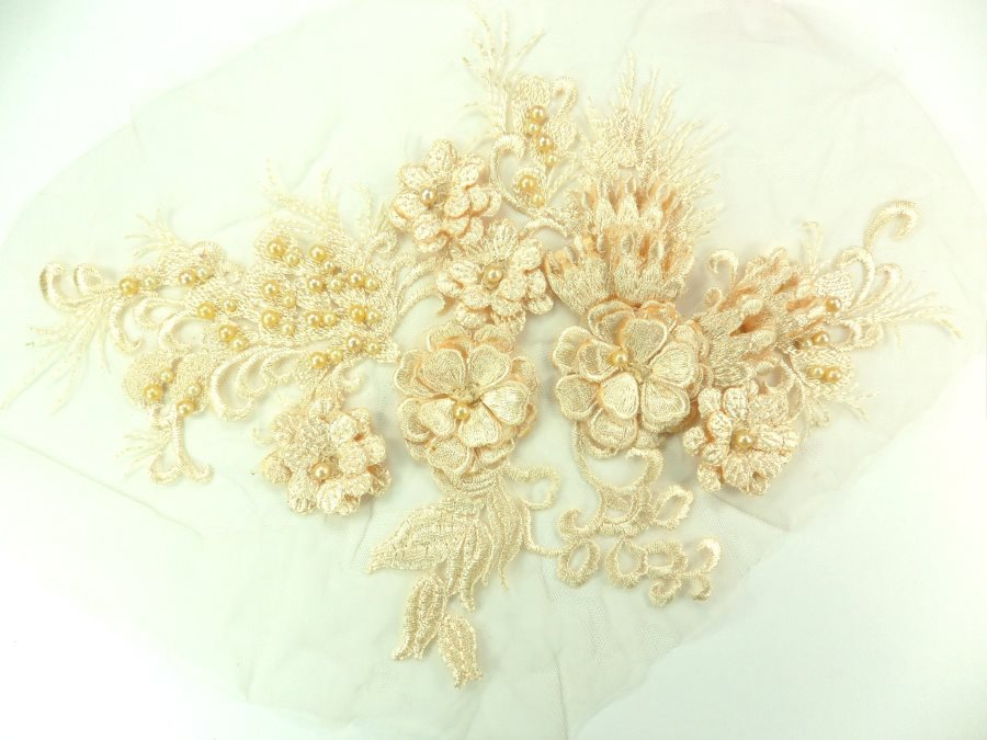 Embroidered Peach Lace Applique Floral design accented w/ Peach Beads 13 GB938-pch