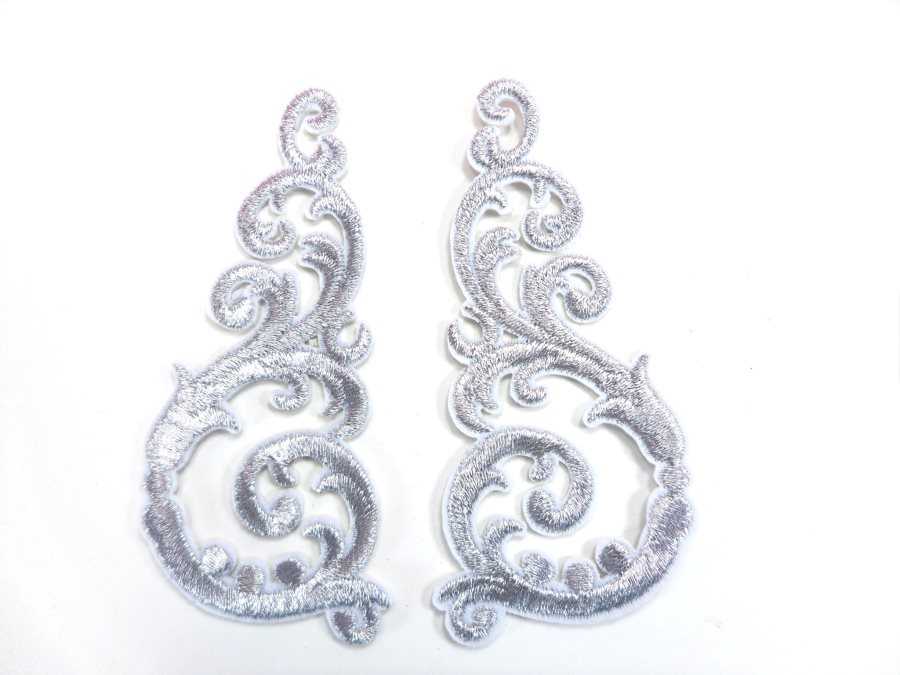Embroidered Appliques Silver Metallic Iron On Mirror Pairs 3.5 GB950X