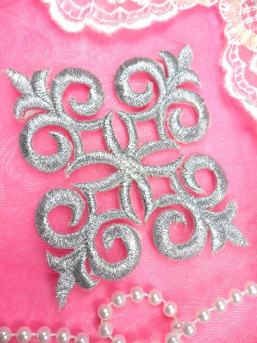 Silver Metallic Iron On Designer Embroidered Applique 4 MS1202