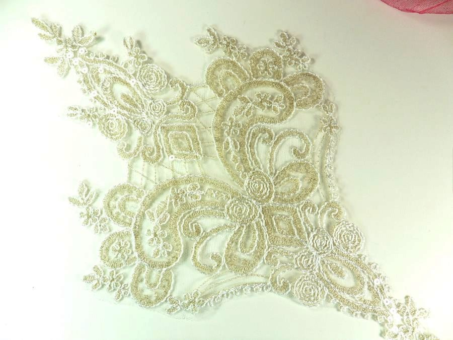 REDUCED Embroidered Applique Champagne Clear Sequin Designer Scroll Motif 14.5 RMGB941-chp