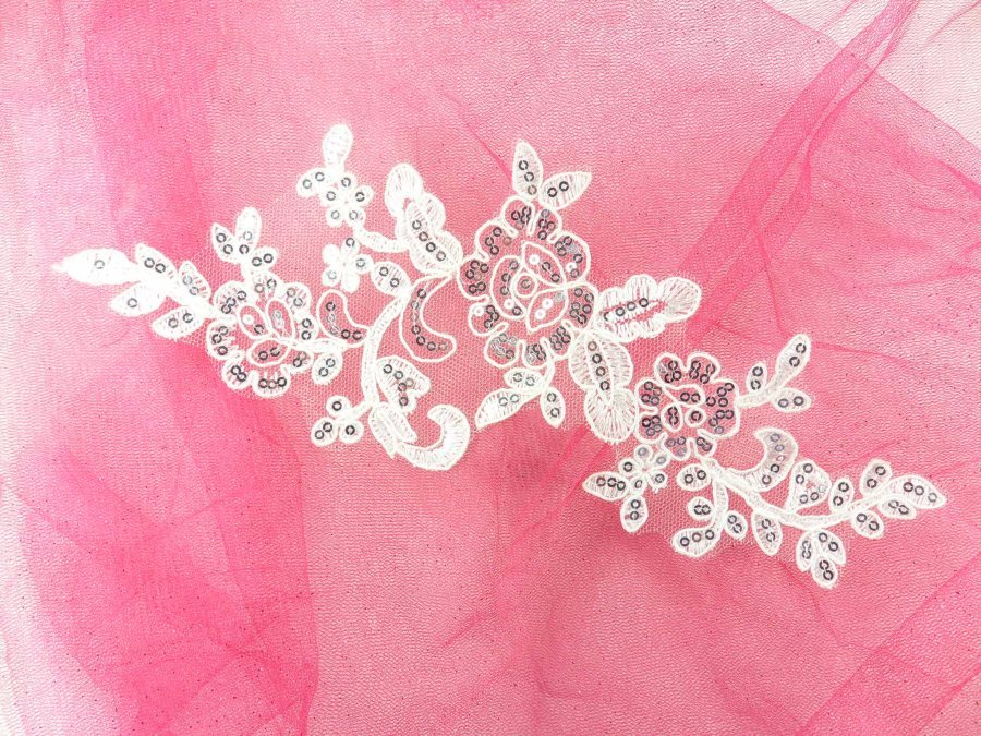 Sequined Lace Embroidered Applique White Silver Floral Ballet Motif 10.25 GB942