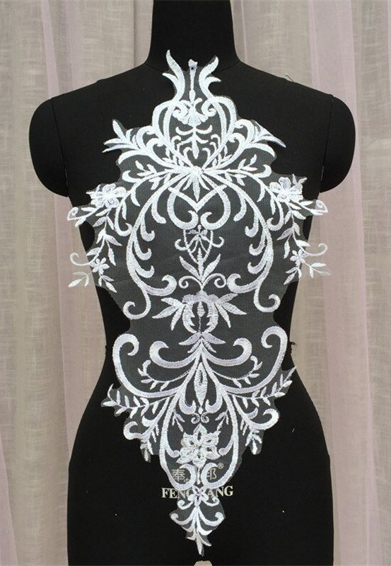 Large Applique White Venise Lace Bodice Yoke Motif 24 GB949