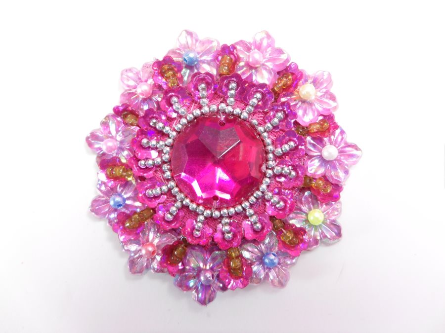Fuchsia Beaded Jewel Applique Sewing Clothing Patch 2.5 GB953