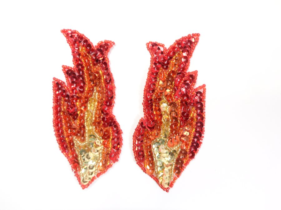 Small Red Flames of Fire Appliques Mirror Pair Sequin Beaded 4 GB957X
