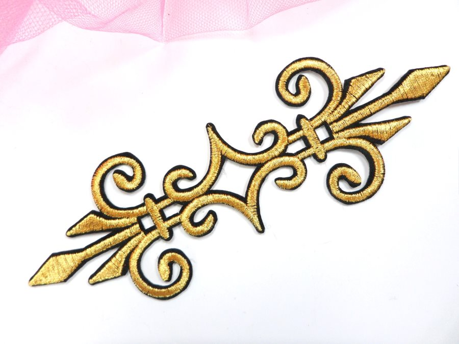 Embroidered Applique Gold Black Metallic Iron On Clothing Patch 6.25 GB959