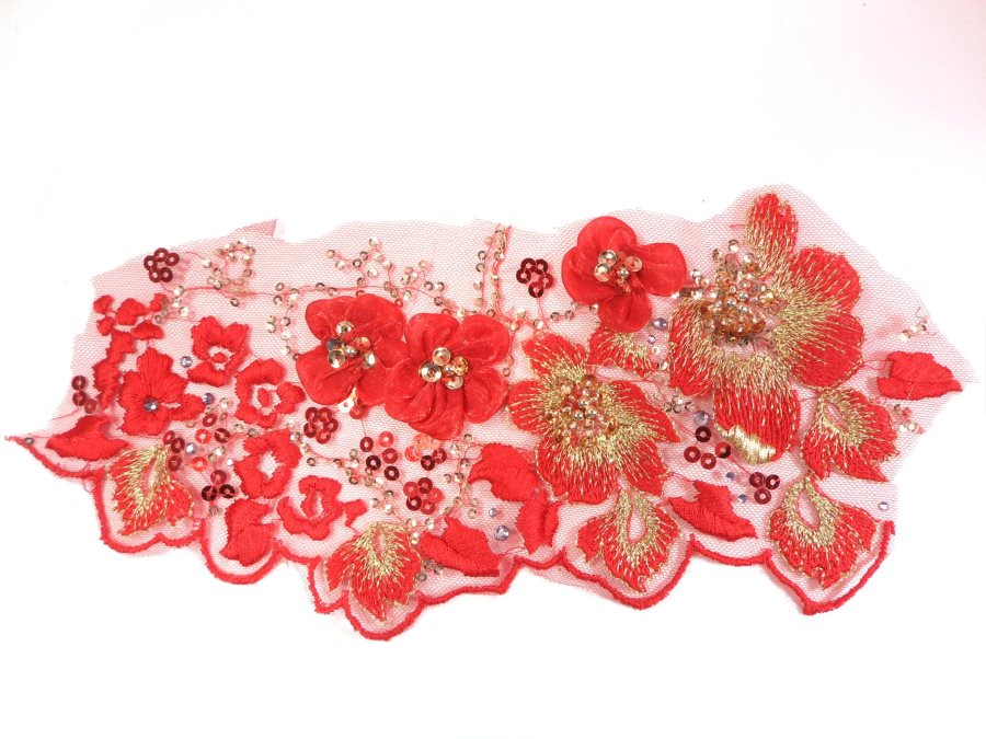 3D Embroidered Applique Red Gold Floral Sequin Beaded Patch 11 GB961