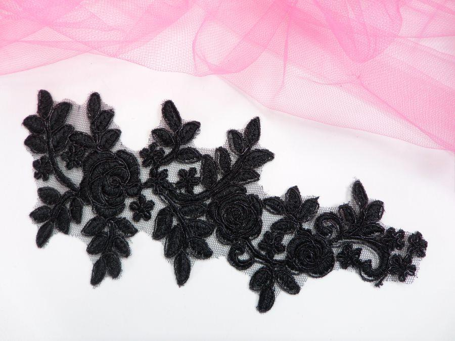 Floral Venise Lace Applique Black Venice Flower 8.75 GB964