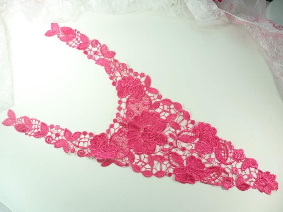 Bodice Applique Embroidered Lace Shiny Fuchsia Thread 21 inches GB970