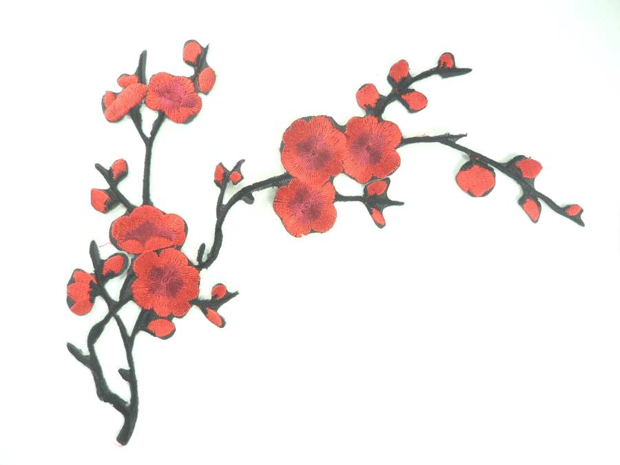 Red Applique Floral Branch Vine Iron On Embroidered Patch 7 inches GB973