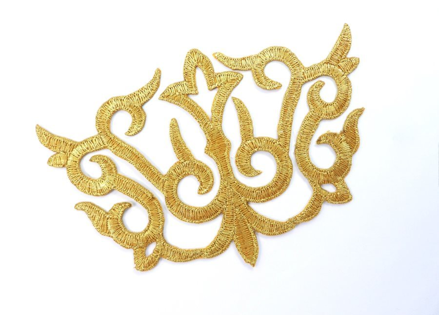 Applique Embroidered Shiny Metallic Gold Thread 4 inches GB981