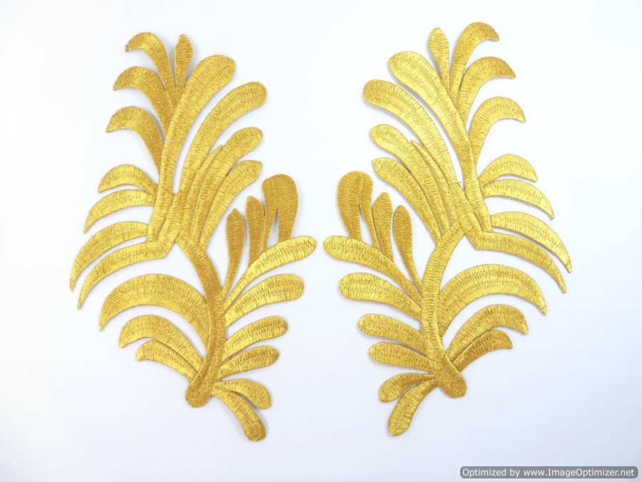 GB983x Embroidered Appliques Gold Metallic Scroll Mirror Pair Iron On Patch 8.25