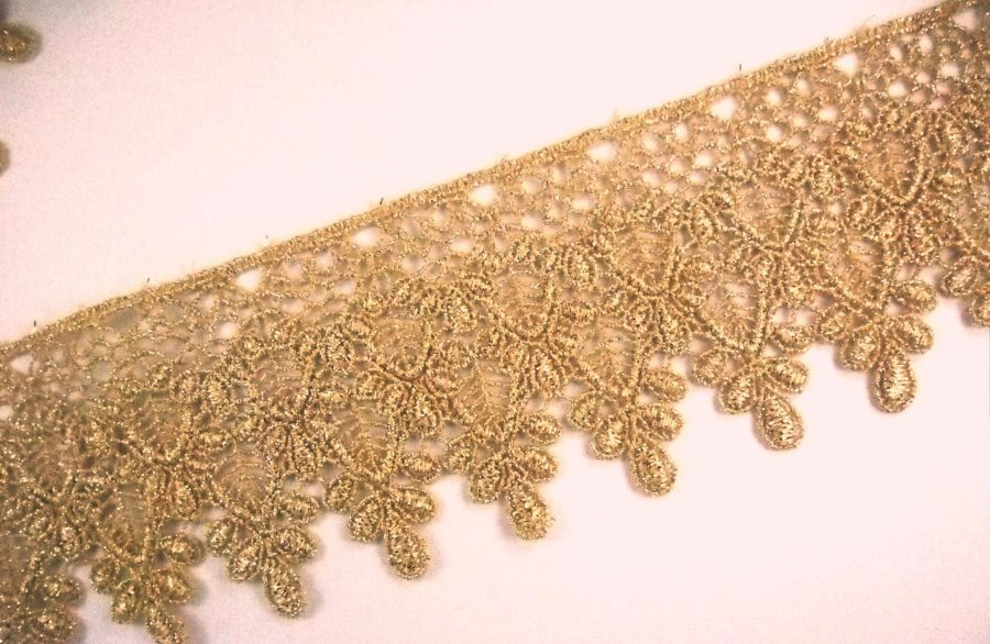 GB994 Elegant Metallic Gold Victorian Venice Lace Trim 3