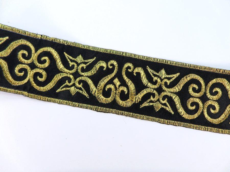 Black Trim Gold Metallic Designer Scroll Sewing Iron on Border Edging GB999