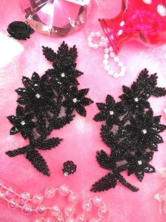 H0104 Black Mirror Pair Sequin Beaded Appliques 6\