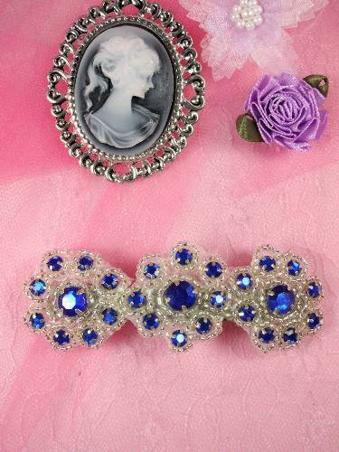 HB0474 Blue Silver Beaded Jewel Floral Hair Bow 3.75\