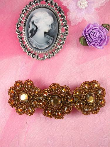 HB0474 Bronze Beaded Jewel Floral Hair Bow 3.75\