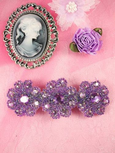 HB0474 Lavender Beaded Jewel Floral Hair Bow 3.75\