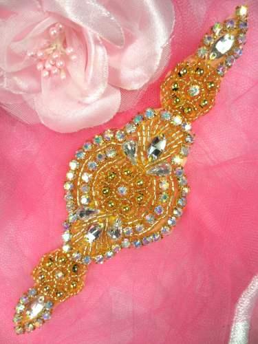 HC3 Gold Beaded Crystal Aurora Borealis  AB Rhinestone Applique 6.25\