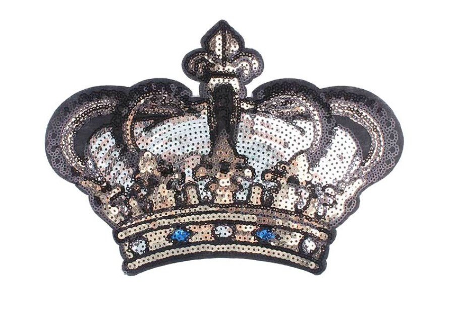 Sequin Crown Applique Iron on Patch Large 9.5 (GB662)