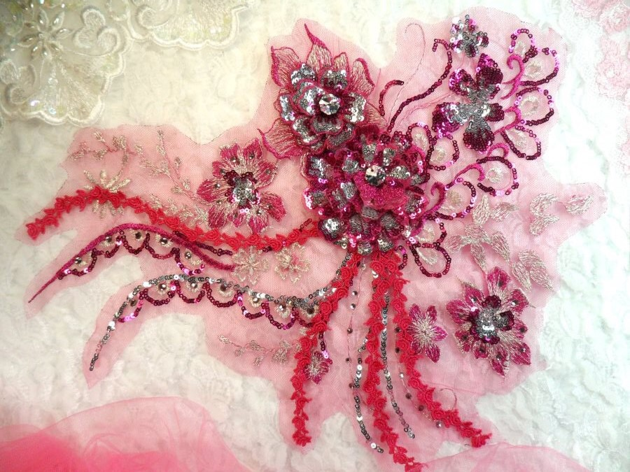 Embroidered 3D Applique Fuchsia Silver Floral Sequin Patch Rhinestone Accented 14 (DH75)