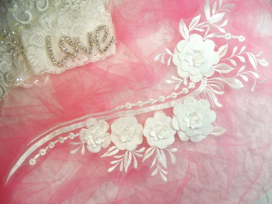 Embroidered d applique white floral sequin patch