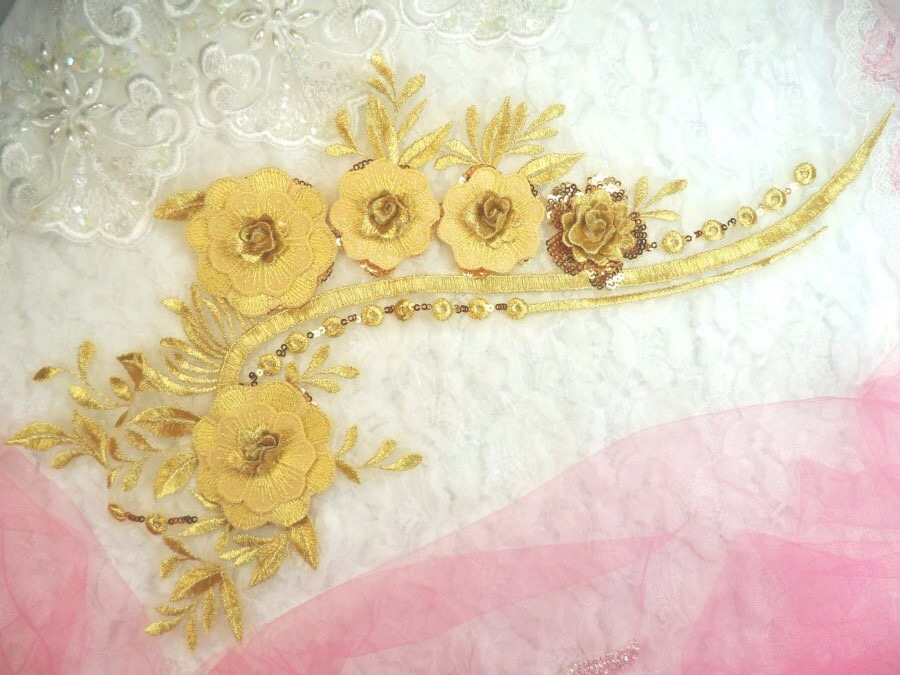 Embroidered 3D Applique Gold Floral Sequin Patch 16 (DH74)