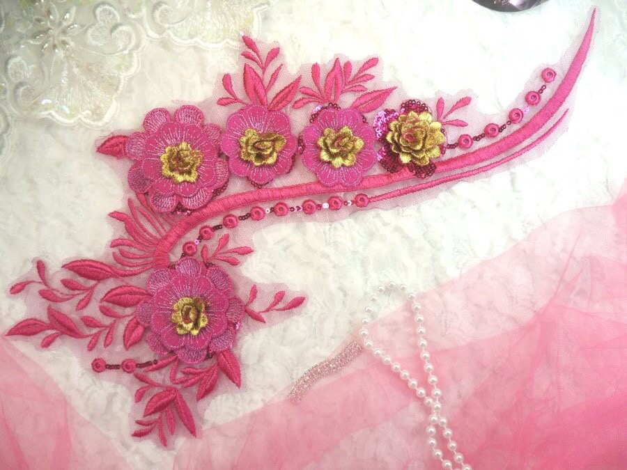Embroidered 3D Applique Fuchsia Gold Floral Sequin Patch 16 (DH74)