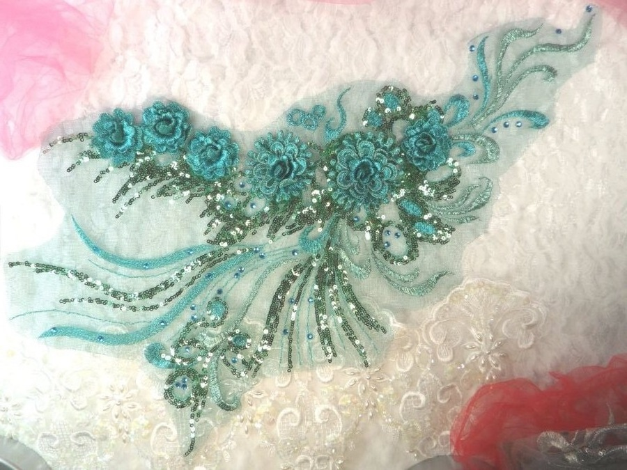 Embroidered 3D Applique Teal Green Floral Sequin Patch Rhinestone Accented 20 (DH71)
