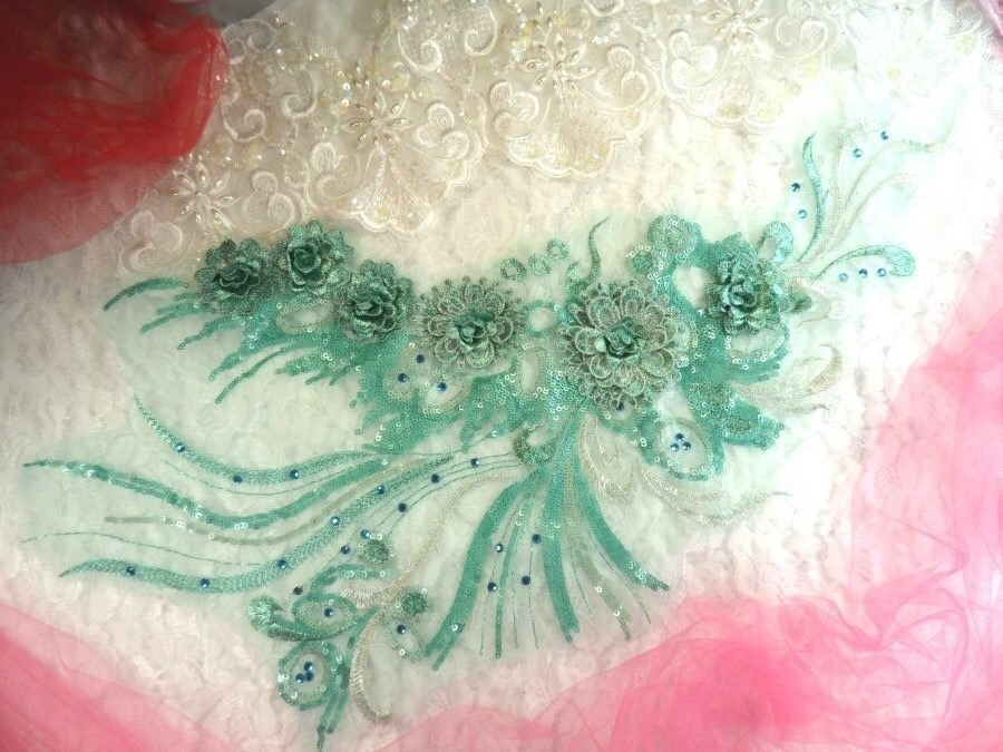Embroidered 3D Applique Seafoam Floral Sequin Patch Rhinestone Accented 20 (DH71)