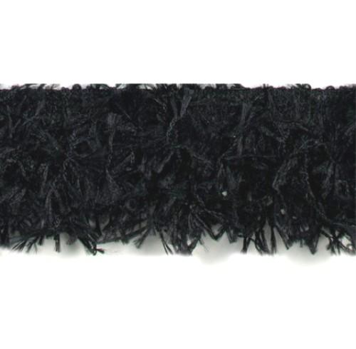 E2585 Black Hairy Gimp Fringe Sewing Trim