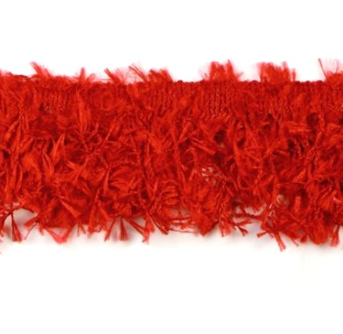 E2585 Red Hairy Gimp Fringe Sewing Trim