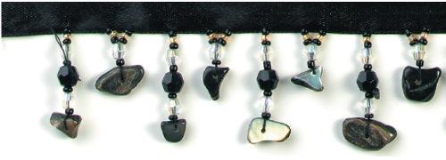 E2659 Black Seashell Beaded Fringe Sewing Trim 1.25