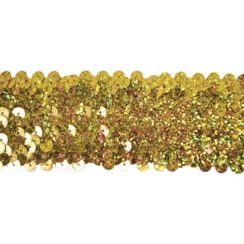 E4562 Gold Holographic Sequin Stretch Starlight Trim