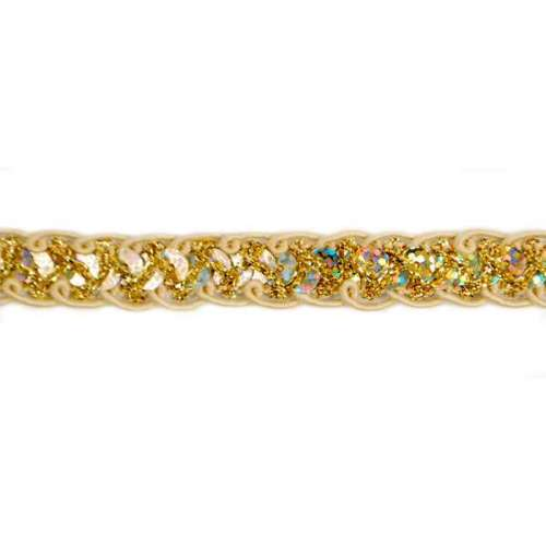Sequin Braided Cord Trim Hologram Gold