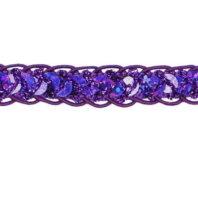 E4570  Purple Holographic Braided Cord Sequin Trim