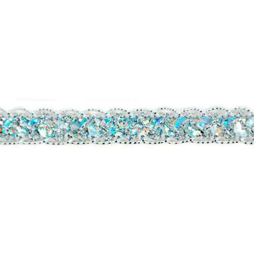 E4570  Hologram Silver Braided Cord Sequin Trim