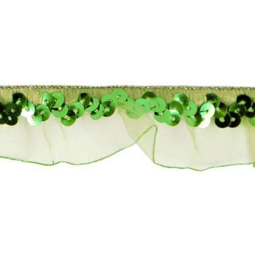 E4572  Green Stretch Sequin Organza Trim 1
