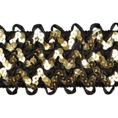 E4574  Gold/Black Rick Rack Stretchy Sequin Trim